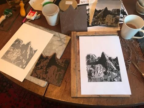 Gurnsey rocks linocut