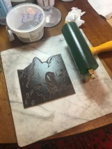 Inking up the linocut first layer