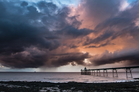 Sunset and rain -Clevedon Pier-2